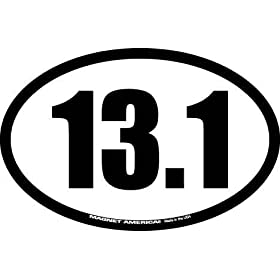EURO 13.1 HALF CRAZY MARATHON FUNNY GRAPHIC DECAL STICKER OVAL NOT TWO COLORS