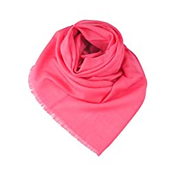 Lady Women Large Cashmere Pashmina Shawl Wrap warmer scarf in bright pink