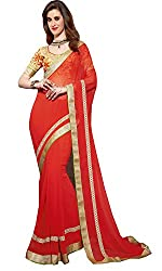 FAIR LADY (Women's) Red color Chiffon Saree With work Blouse Piece