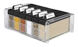 Emsa 508456 Gewürz-Kartei, 6 Gewürze, 0.075 Liter, Schwarz/Transparent, Spice Box