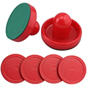 Set Of Two Red Air Hockey Pushers And Four Red Pucks -- Medium Size For Kids