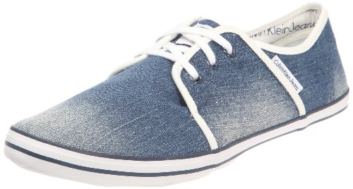 Calvin Klein Jeans Men's Fisher Stone Washed Denim Blue Fashion Trainer S1325 5 UK, 39 EU