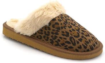 Brand New Lady Artificial Fur Flat Cotton Warm Slipper DF5008 LEOPARD