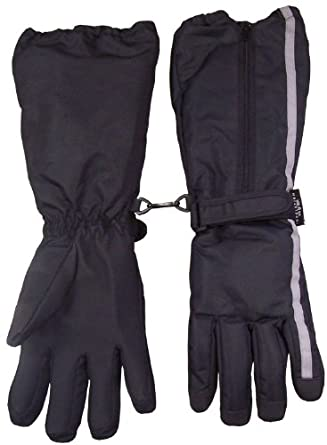 N'ice Caps Boys Reflector Thinsulate and Waterproof Elbow Lenth Glove (10-12yrs, black/reflector)