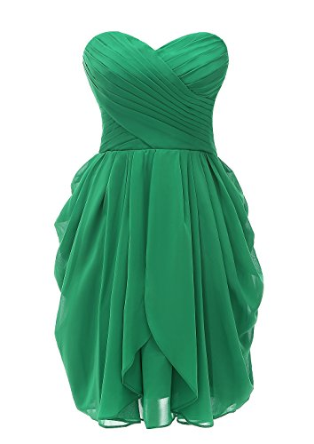 Kiss Dress Short Strapless Prom Dress Soft Chiffon Evening Dress (M, Green)
