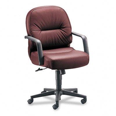 HON 2092SR69T Leather 2090 Pillow-Soft Series Managerial Mid-Back Swivel / Tilt Chair Burgundy