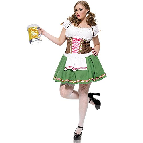 Gretchen Adult Plus Costume With Beer Stein Purse and Fishnet Pantyhose (1X-2X)