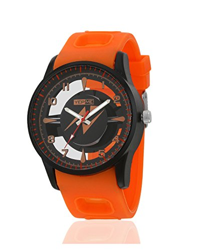 Yepme Men's Transparent Analog Watch – Black/Orange_YPMWATCH3172