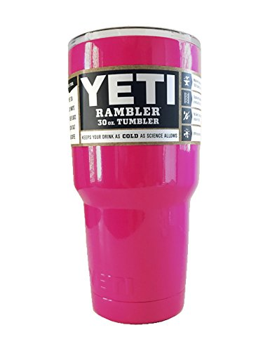 YETI Coolers 30 oz Rambler Stainless Steel Tumbler Powder Coated Colors (30 oz, Dark Pink Boost Awareness + HANDLE)