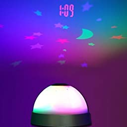 Vshare® Alarm Clock with 7 Color Change LED Night Light Magic Moon & Stars Projector