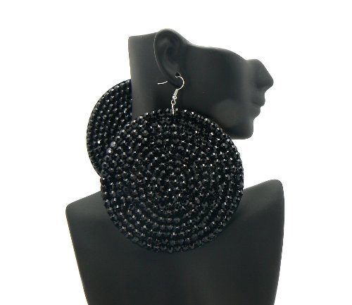 Jet Black 3.5 Inch Circle Poparazzi Earrings Iced Out Light Weight Basketball Wives