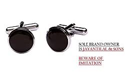 TRIPIN ROUND BLACK AND SILVER CUFFLINKS FOR MEN IN RED COLOUR TRIPIN BRANDED BOX ONLY.