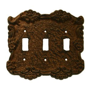 Rustic brown cast iron triple switch cover plate - Wrought iron switch plate covers ...