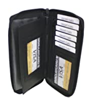 NEW Genuine Leather Zipper Leather Checkbook Cover Organizer ID Credit Card Wallet
