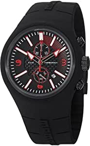 MomoDesign Mirage Chrono Men's Black Rubber Quartz Chronograph Watch MD1009BK-04BKRD-RB