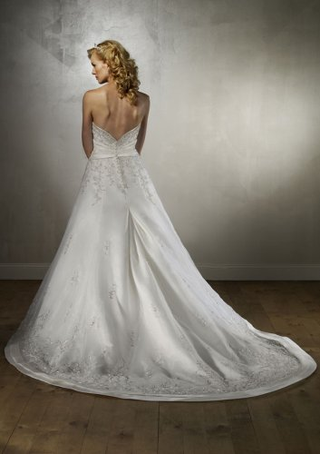 Organza Trimmed with Duchess Satin Wedding Gown