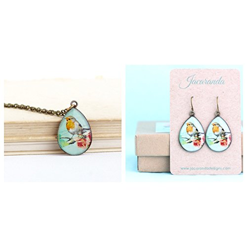 turquoise-robin-red-breast-bird-pendant-necklace-and-matching-earrings-jewelry-gift-set-for-woman