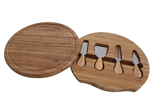 Detailed Workmanship Gourmet Bamboo Cheese Board With Travel Cheese Tools - Stainless Steel Cheese Knife, Shaver, Fork, Cutting Board And