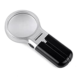 Home-organizer Tech LED Lighted Foldable Bright and Big Illuminated Handheld Magnifying Glass Handy Magnifier 3x Magnification Lens