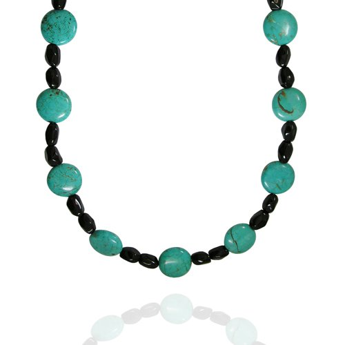 Created Turquoise Round-Shaped 20mm with Black Onyx Bead Necklace, 36+2