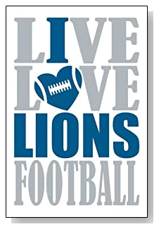 Live Love I Heart Lions Football lined journal - any occasion gift idea for Detroit Lions fans from WriteDrawDesign.com