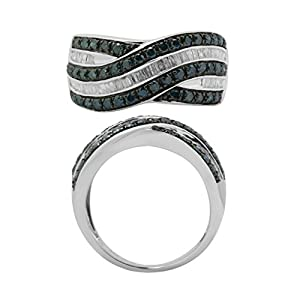 Metro Jewelry Sterling Silver Ring with 1.0 cttw Black and White Diamonds Size 8