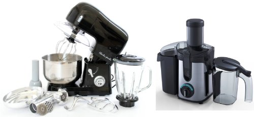 PACKAGE DEAL Kitchen Powerful 3 in 1 FOOD STAND MIXER INC Blender,Meat Grinder 5L in Black, Most POWERFUL 1200W + Charles Jacobs 2.0L ELECTRIC Whole FRUIT JUICER in Black Compact 800W POWER, comes with BRUSH for cleaning from Charles Jacobs