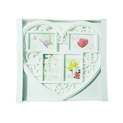 Cornice portafoto provenzale shabby chic bianca per 4 foto contorno CUORE con farfalle, foglie, uccelli ca cm 45,5X41