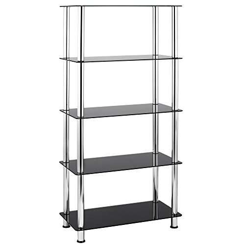 VonHaus 5 Tier Black Glass Shelving Unit with Sturdy Chrome Tube Legs & Tempered Glass (Metal Shelving Wall Unit compare prices)