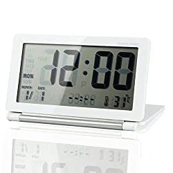 eBoTrade Multifunction Silent LCD Digital Large Screen Travel Desk Electronic Alarm Clock, Date/Time/Calendar/Temperature Display, Snooze, Folding White & Silver