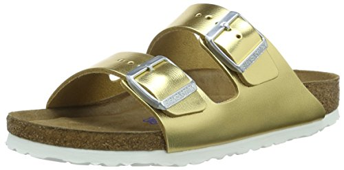 Birkenstock Arizona - Sandali con Cinturino alla Caviglia Donna, Dorado (Metallic Sirocco Gold/Soft Footbed), 38 EU