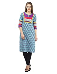 DEE'S By Dashmesh Women's Blue Cotton Print With Embroidery Kurti