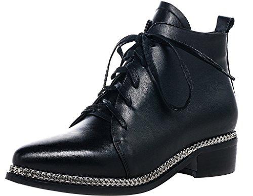 ELEHOT Donna Eleaspect senza tacco 4CM Leather Stivali, nero, 35.5