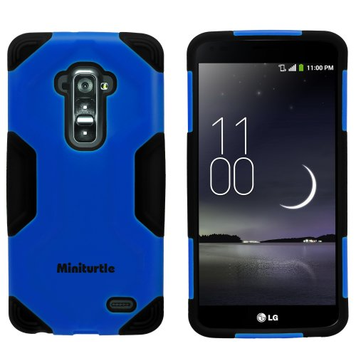 Miniturtle, 2 In 1 Hybrid Curved Shell Casing Hard Phone Case Cover, Stylus Pen, And Clear Lcd Screen Protector Film For Android Smartphone Lg G Flex /T Mobile D959, /At&T D950, /Sprint Ls995 (Blue / Black)