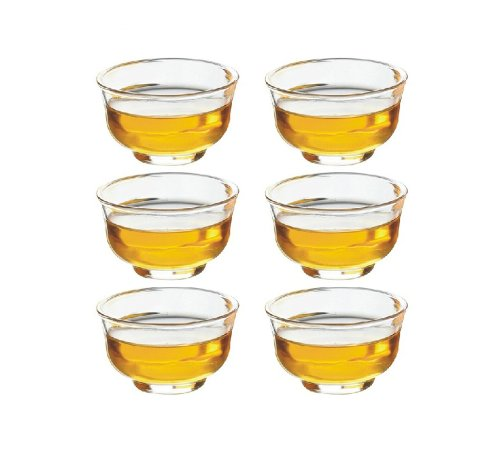 Moyishi Modern Clear Glass Borosilicate Tea Coffee Milk Water Cup Set Of 6