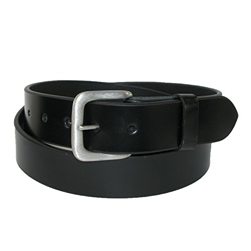 CTM® Mens Leather 1 3/8 Inch Removable Buckle Bridle Belt, 36, Black