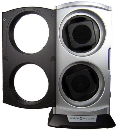 Swiss Watches:Double Automatic Vertical Watch Winder Box with Built in Multi Setting Smart Timer Watchwinder Images