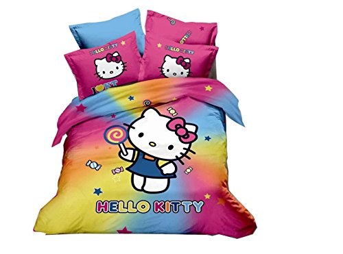 Cliab 5 Pieces Queen Size Hello Kitty Comforter Set Reversible Removable And Washable Duvet-Styled Comforter Set Hello Kitty Bedding Queen Size Set Hello Kitty Bedding Queen Set Hello Kitty Bedding Set Queen