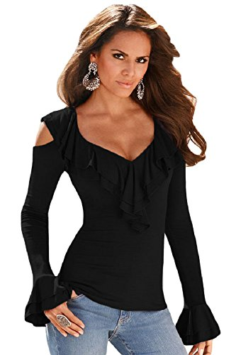 Women Autumn Top Ruffle V Neck Cold Shoulder Long Sleeve Tee Shirt (Fancy Women Tops compare prices)