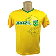 Buy Brazil Youth Soccer Yellow Jersey Style Training Youth T-shirt by Rhinox