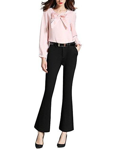 Pantaloni Zampa Elefante Donna Slim Fit Stretch OL Temperamento Ladies Pantaloni Nero XL