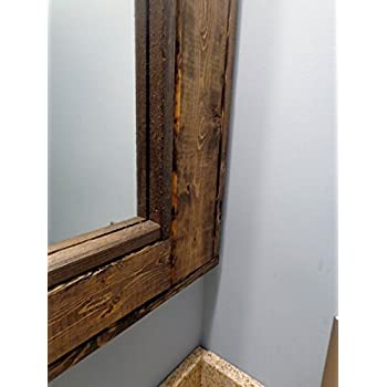 Bathroom Vanity Window Mirror - Reclaimed Wood Mirror - Large Wall Mirror - Rustic Modern Home - Home Decor - Mirror - Housewares - Woodwork