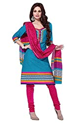 AMP IMPEXEthnicwear Women's Dress Material Turquoise_Free Size