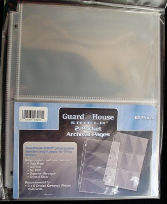 2 Pocket Currency Storage Pages for Graded Bills PACK of 10 GuardHouse Shield - 1