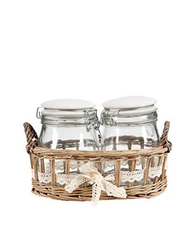 2 Jars In Willow Basket