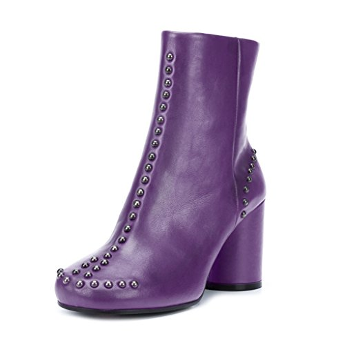 XYD Women Round Toe Pumps Booties Ankle Heels New Studs Shoes Size 4 Purple