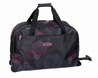 """Cabin friendly trolley bags 21"""" black/plum by Frenzy fireworks, 55X40X20CM dimension, 1.2 Kg weight- Lightest of its size!!!! And carries a MASSIVE 39.00L weight"""