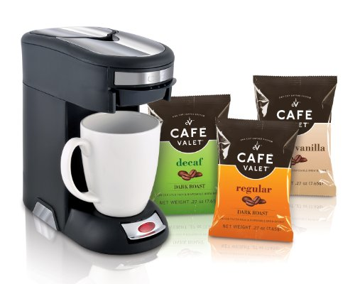 Café Valet Black/Silver Single Serve Coffee Brewer Starter Kit/Combo, Includes 18 Count Variety Pack of Exclusive Café Valet Coffee