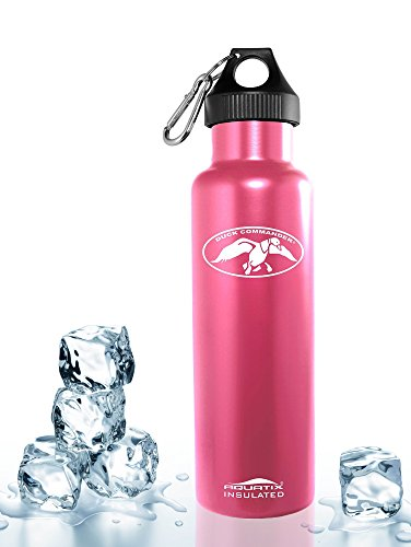 Pink 21 Oz. Duck Commander 21 Oz Double Wall Vacuum Insulated Thermal Bottle Personal Hydration Eco Friendly Sports Water Bottle Keeps Your Water Cold for 24 Hours and Hot for 12 Hours!!! Does Not Sweat! Perfect for Yoga, Soccer, Basketball, Fitness, Exercise, Football, Golf, Outdoor, Hiking, Rock Climbing Hunting, Fishing, Softball, Baseball Too! Maximum Chill Factor