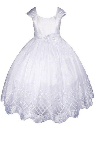 Amj Dresses Inc Girls White Flower Girl Communion Dress Size 6